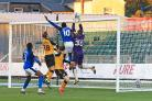Zanzala's goal is disallowed for a foul on the Newport keeper (photo: Gareth Williams/AHPix)