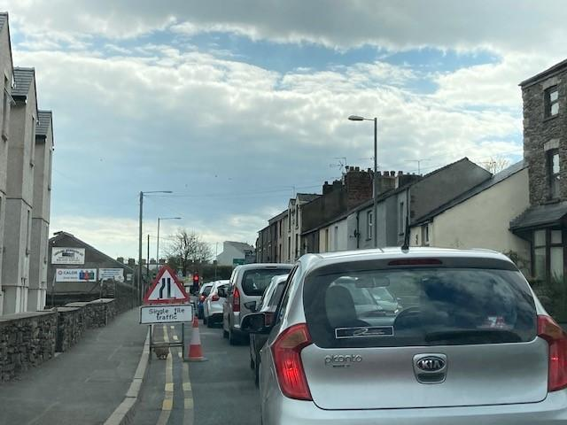 TRAFFIC: Temporary lights on A590 westbound approaching Ulverston town centre