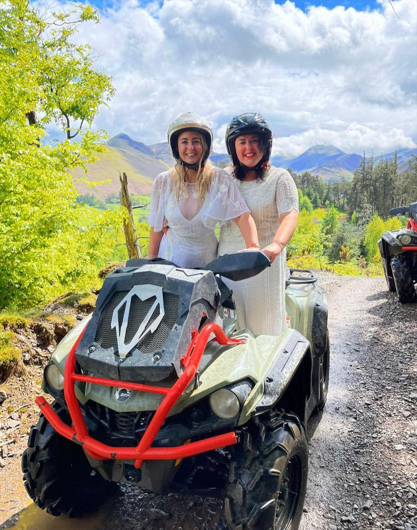 ADVENTUROUS: The newlyweds decided to ride a quad bike after saying 'I do'