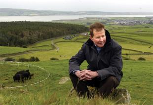 A PITY: Hotelier Jonathan Denby as his High Lowscales Farm, Millom, where Japanese Wagyu cattle are being bred