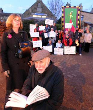 READERS: Fighting to save Bentham library are residents led by (front) Irena Pritchard and Paul Hypher