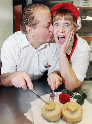 CUPID Brian Belcher and Lynda Fielding tuck into the pies at Bellfields Chip Shop, Burnley,