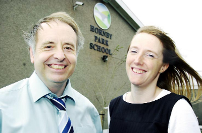 FREE SCHOOL BID: Head teacher Chris Ainsworth and deputy head Victoria Morley at the new Hornby Park School on Monday