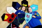 STITCH TIME: Crosscrake Primary pupils Daniel Pritchard and Katie Stafford-Roberts