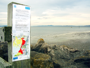 NO-GO AREA: A sign prohibiting mussel fishing in Morecambe