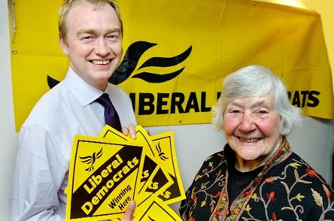The Westmorland Gazette: Bookies believe it will be the yellow of the Lib Dems, not Tory blue that wins Westmorland 2015. Mr Farron pictured with Dame Shirley Williams