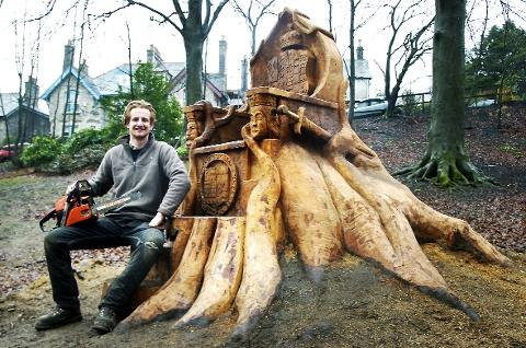 Andy is king of the wood carvers sculpting his talent at Kendal's Fletcher Park
