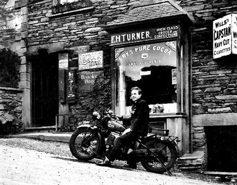 Harry Turner outside the family shop at Chapel Hill, Ambleside.
