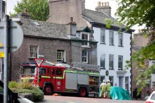 Fire crews at the scene on Milnthorpe Road, Kendal. Picture: Steve Barber