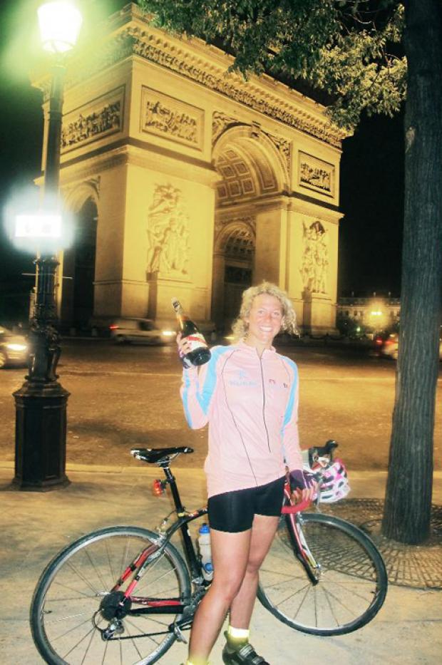 Michelle celebrates her arrival in Paris at the Arc de Triomphe at the end of her ordeal