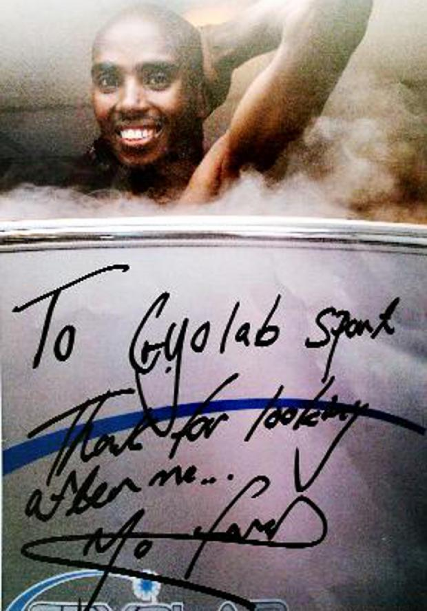 A signed photo from Mo Farah thanking Cryolab Sports for their help in helping him make history at London 2012