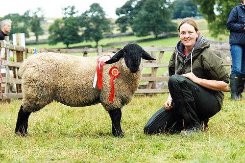 Pam Staley wins Champion and 1st reserve with her Suffolk sheep.