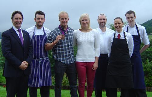 Staff at the Holbeck Ghyll in Windermere with Olympic medallist Jon Schofield