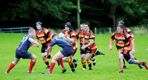 Action from the Cumbrian derby between Kirkby Lonsdale and Carlisle