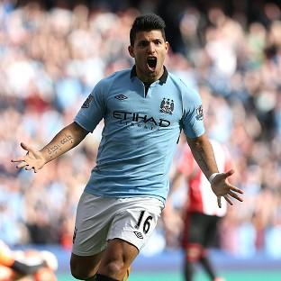 Sergio Aguero scored Manchester City's second goal against Sunderland