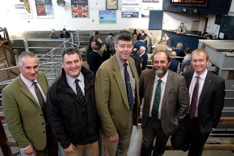 MINISTERIAL VISIT: From left, Chris Dodds, of the Livestock Association, Adam Day, MD of North West Auctions, Plumgarth director John Geldard, Farming Minister David Heath and MP Tim Farron