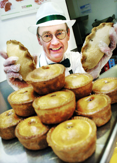 John Nicholl with some of his pies