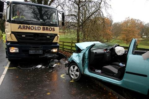 The crash scene at Hollins Lane, near Kendal, off the A591