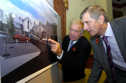 Tony Clowe, left, Robinson's development manager and Mike Gibson, planning consultant, with an artist's impression of the brewery site proposal