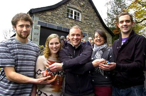 Richard Leafe hands over the keys to, from left, Shaun Taylforth, Sarah Beaty, Lucy Wilson and Daniel Nevison