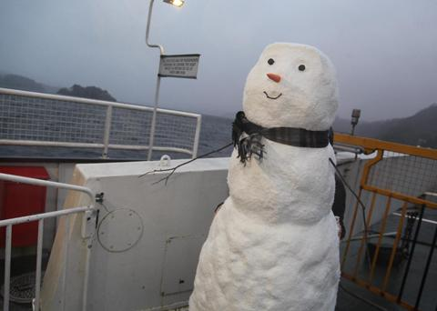 The snowman on Windermere Ferry