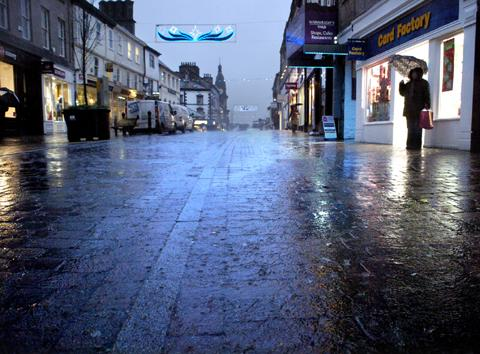 Rain-lashed Kendal this afternoon