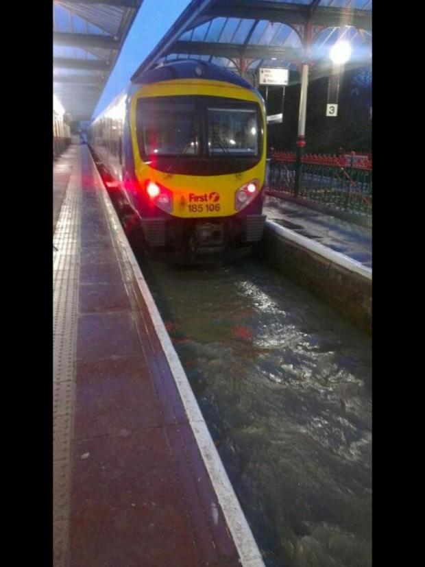 Flooding last night at Ulverston Railway Station, picture from Ryan Morgan