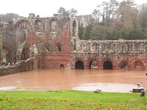 Flood waters at Furness Abbey