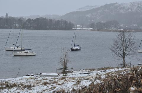 A snowy scene in the Lake District this morning