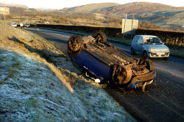 The overturned car on the A591 this morning