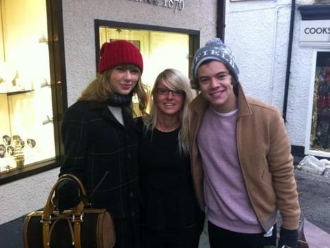 From left to right, Taylor Swift, Claire Dibbs and Harry Styles (Copyright owned by Clare Dibbs)
