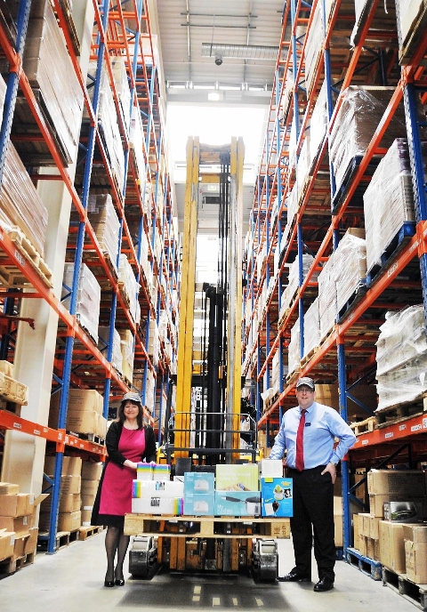Distribution centre manager Claire Seddon and operations director Gary Marshall in the warehouse