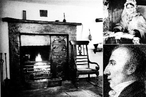 The kitchen fire at Dove Cottage and (right) Dorothy and William Wordsworth