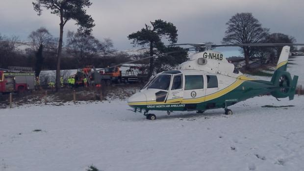 The crash scene near to Warcop yesterday