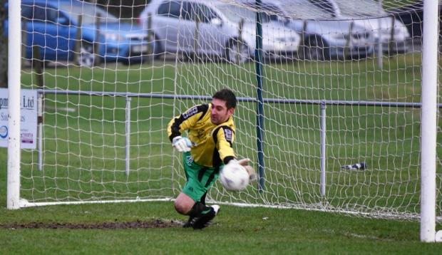 Phillip King saves a penalty for Kendal County in their 1-0 win over Todmorden Borough. Picture by Richard Edmondson