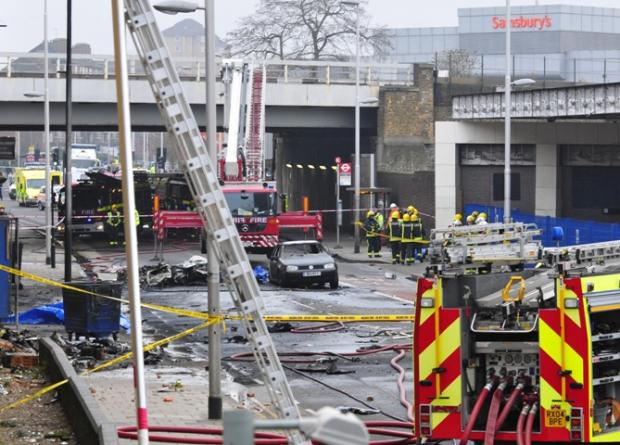 The scene of the helicopter crash in London