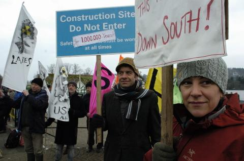 Protesters at Bowness Bay