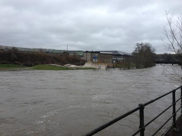 RISING WATER: This picture was taken of the River Kent in Kendal by Gazette reader Johnny Gios earlier today