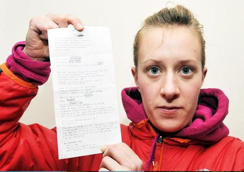 Catherine Niblock with the parking ticket which has since been quashed