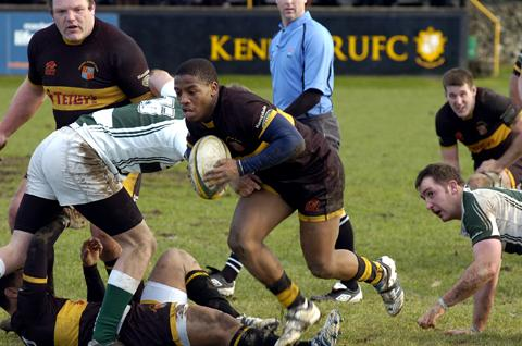 Kendal scrum half Dini Nayo tries to work his magic as Kendal lose 27-22 in the Cumbrian derby to Penrith
