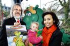 Robin Evans and Naz Craig with two-year-old Abbie Gibson – and samples of the Bownessie merchandise