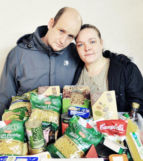 Claire Ainsworth and Scott Beaumont, who have been helped by the food bank