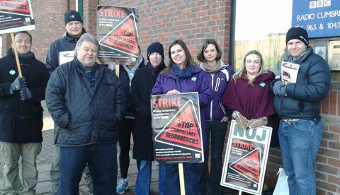 Members of BBC Radio Cumbria's NUJ branch on strike today where they were joined by Cumbria County Councillor Tony Markley (front left)