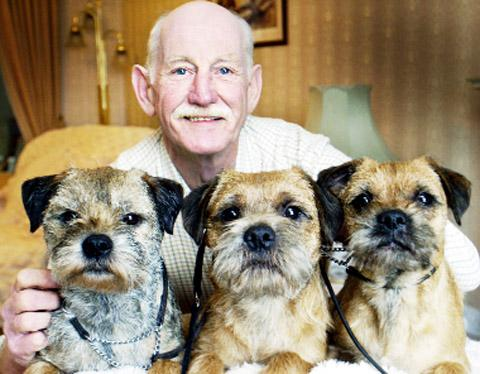 Len Jackson with Border Terriers Jesse, Kep and Bess