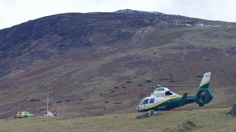 A Penrith man was airlifted to hospital after crashing on a Lakeland fell