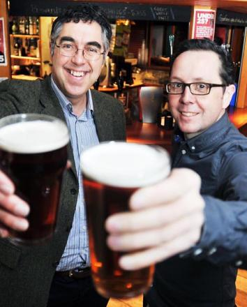 This pint of real ale's for you: Dan Shiels (left) and Neil Bowness ahead of this weekend's real ale festival
