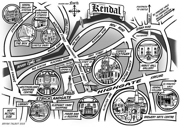 Brian Talbot's comic map of Kendal
