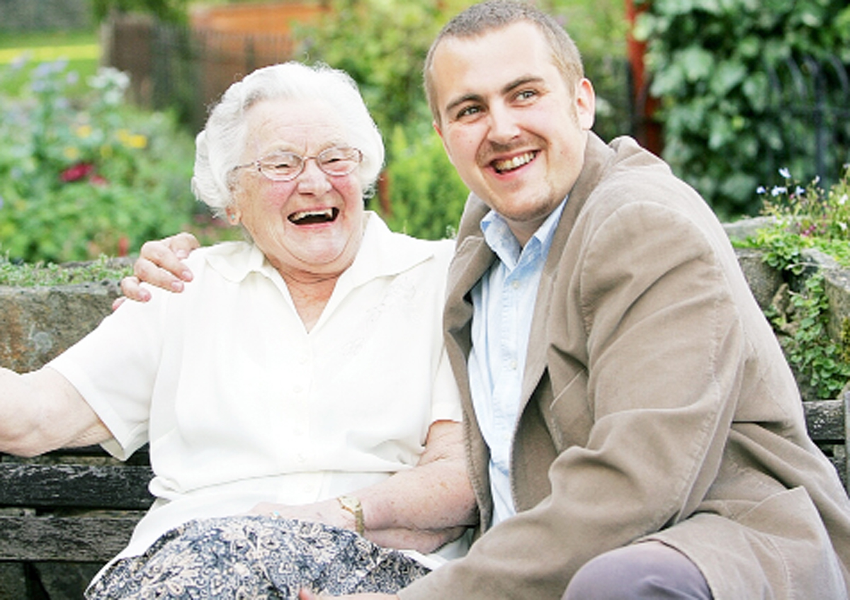 Inventor James Batchelor with his grandmother Eveline Smith who inspired the idea for Alertacall