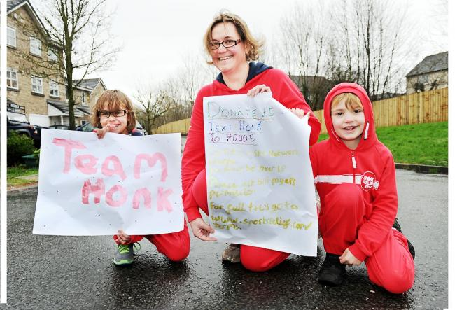 Becky Willoughby with her children Elisabeth and Oliver who will take part in the Sport Relief 'Team Honk'