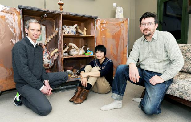 Alistair Hudson, Yoko Sato and Adam Sutherland of Grizedale Arts with part of the 'Wantee' installation at the Ruskin Museum